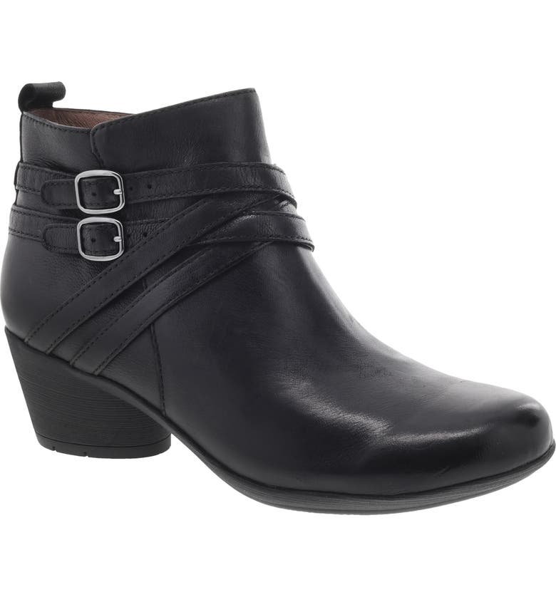 DANSKO Roberta Bootie, Main, color, BLACK NUBUCK LEATHER
