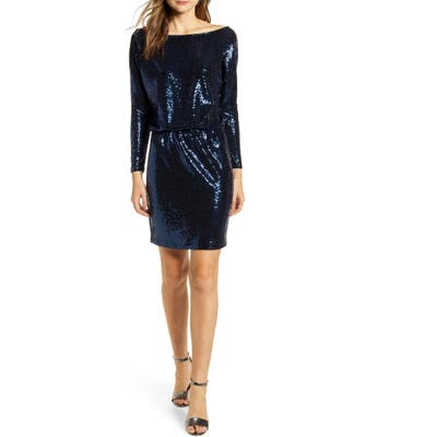 Gibson X Glam The Motherchic Sequin Long Sleeve Party Dress, Blue (Regular & Petite) (Nordstrom Exclusive)