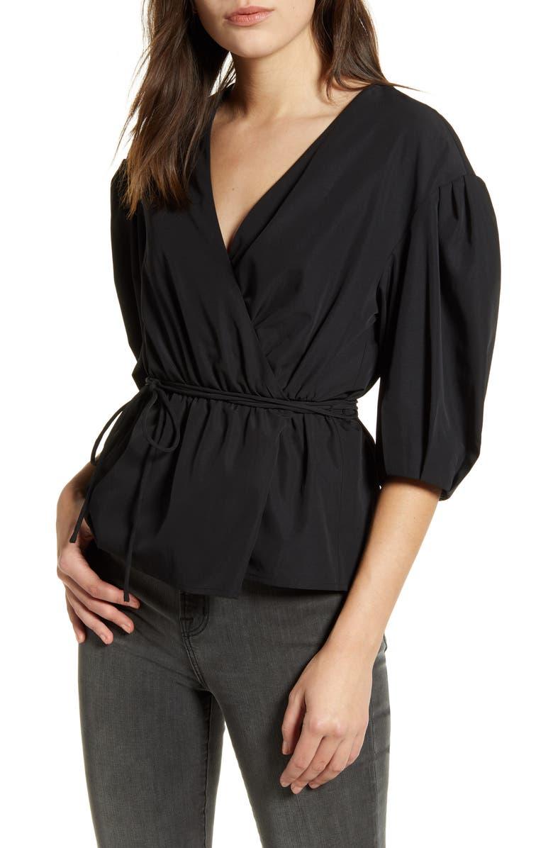 REBECCA MINKOFF Mary Wrap Top, Main, color, BLACK