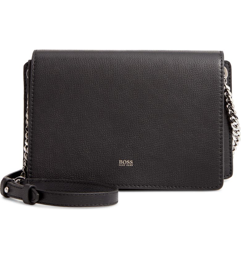 BOSS Taylor Leather Crossbody Bag, Main, color, BLACK