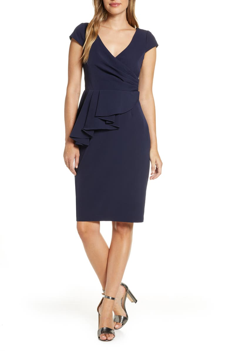 ELIZA J Peplum Sheath Dress, Main, color, NAVY