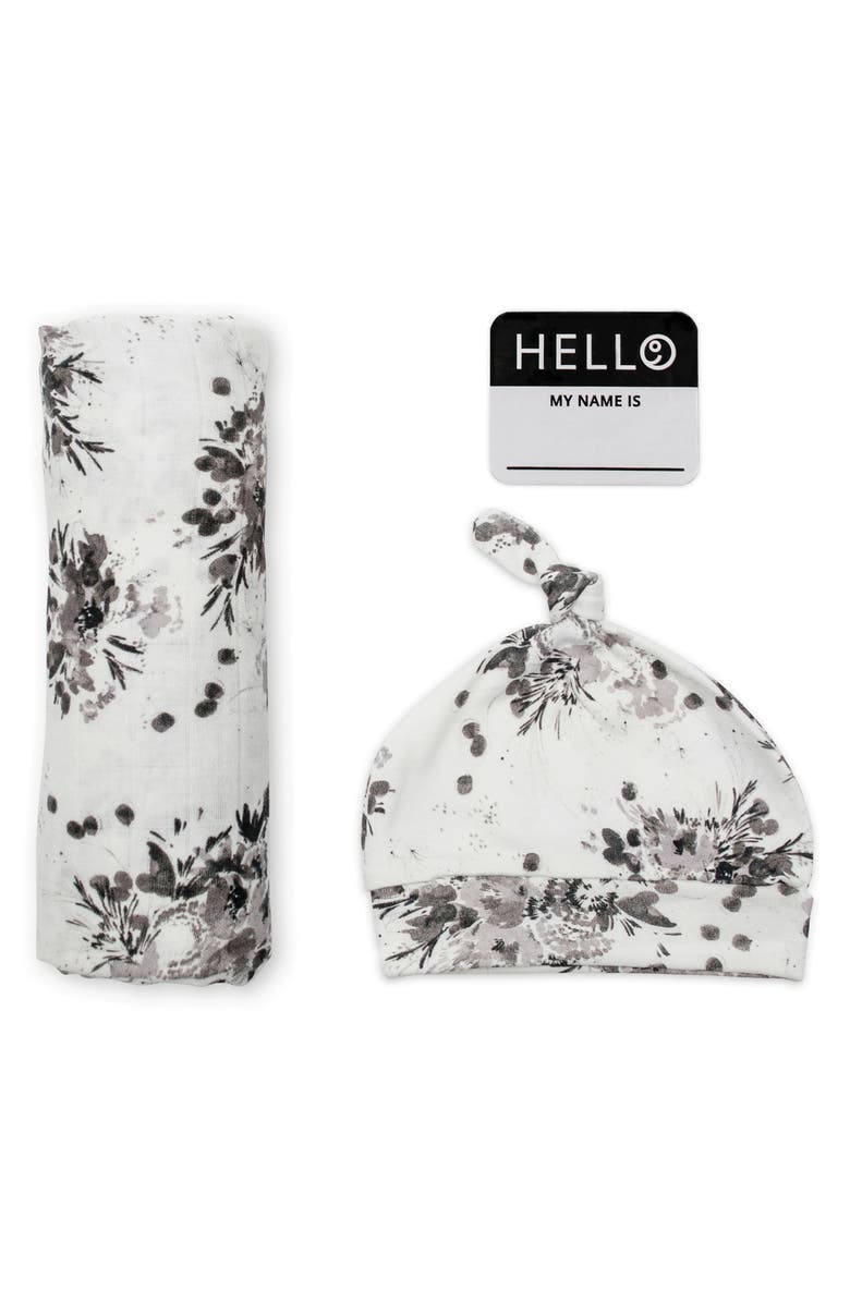 LULUJO Hello World Floral Hat, Swaddle Blanket & Birth Announcement Sticker Set, Main, color, BLACK/ WHITE