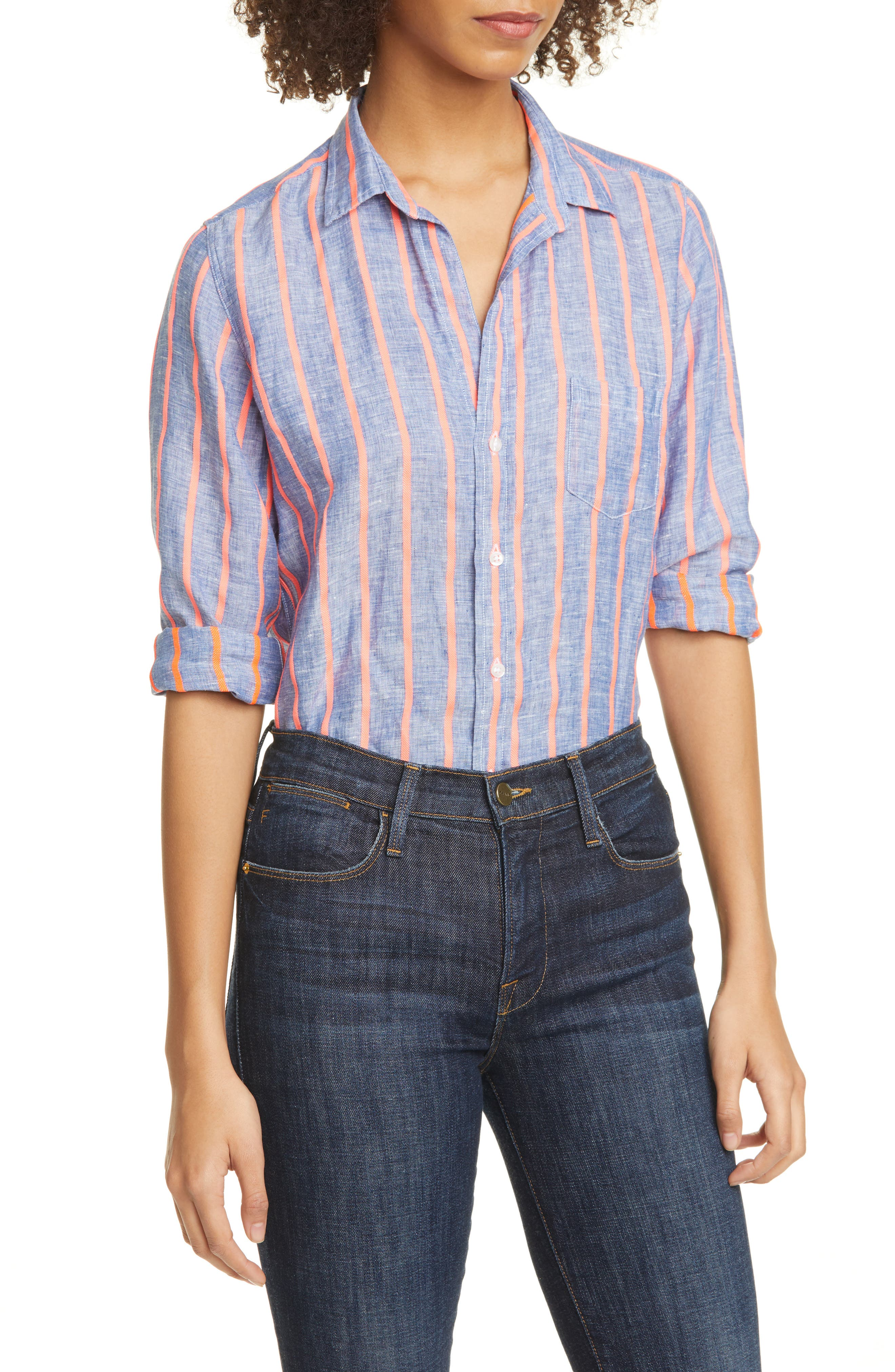 Image of FRANK & EILEEN Barry Stripe Linen Blend Shirt