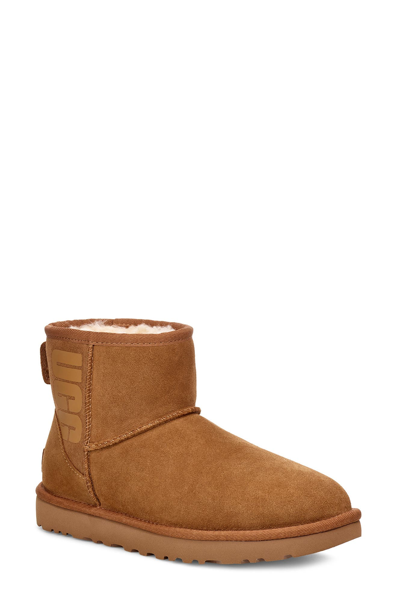 Ugg CLASSIC MINI UGG RUBBER LOGO WOOL BLEND LINED BOOT
