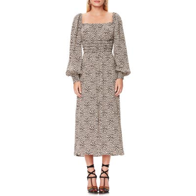 Afrm Miro Leopard Print Long Sleeve Dress, Beige
