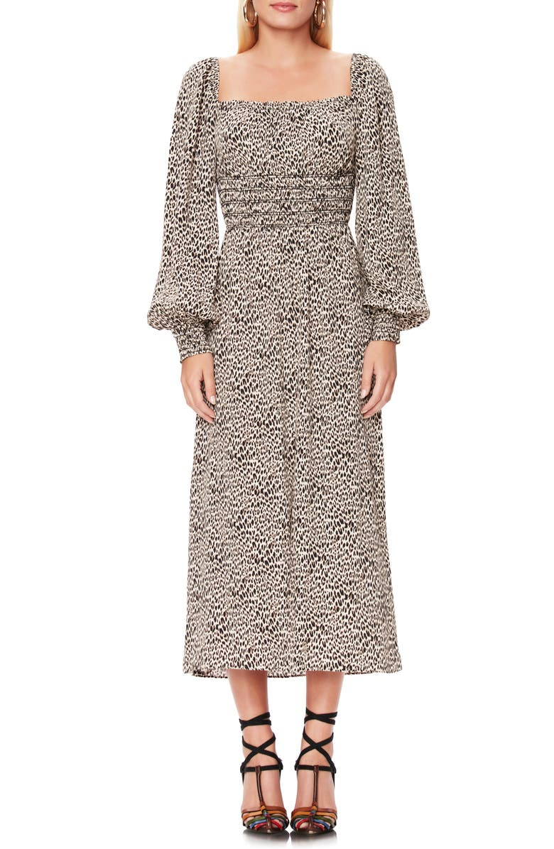 AFRM Miro Leopard Print Long Sleeve Dress, Main, color, ANIMAL