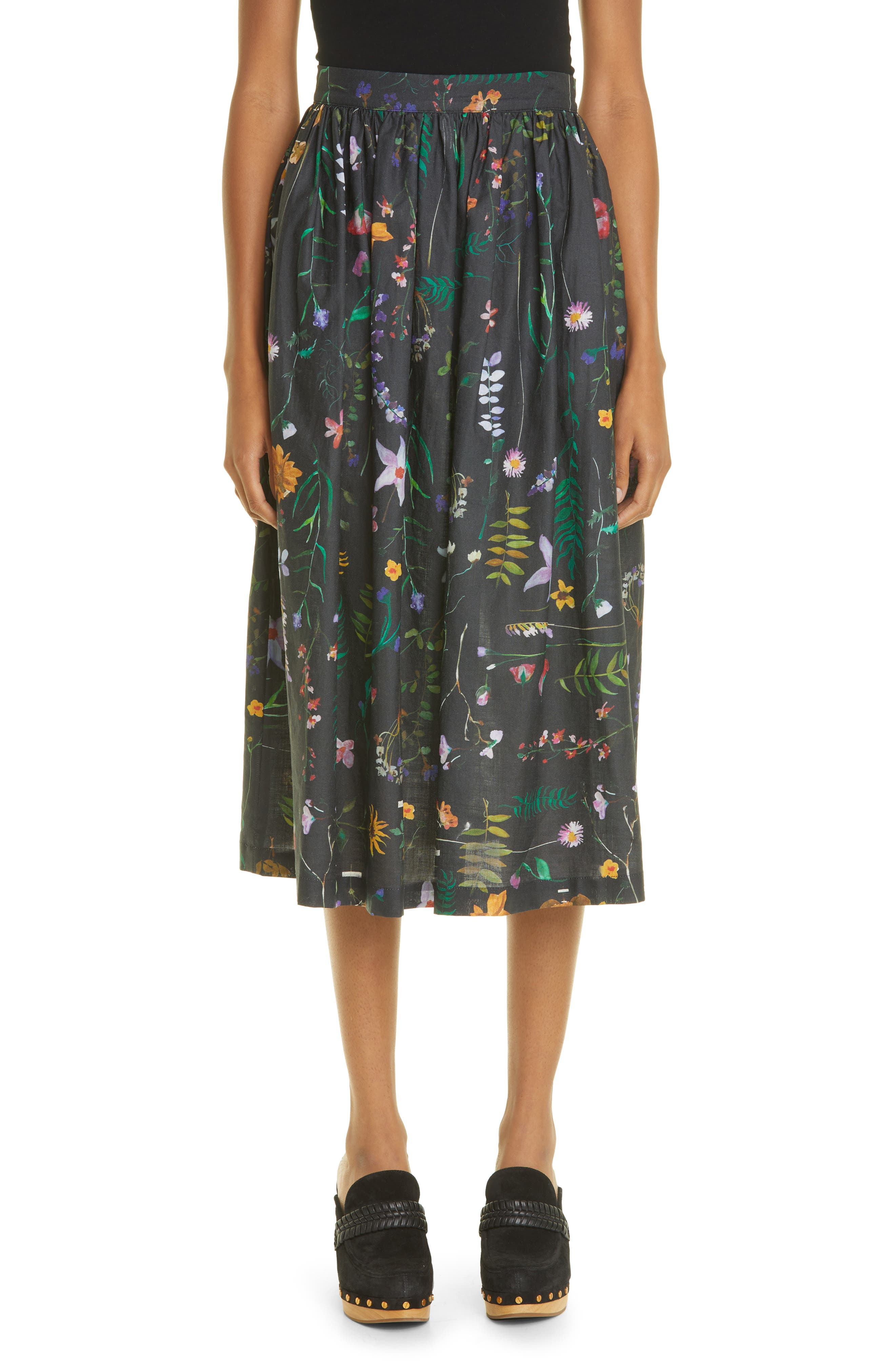 Growing Romantics Pleated A-Line Linen Skirt