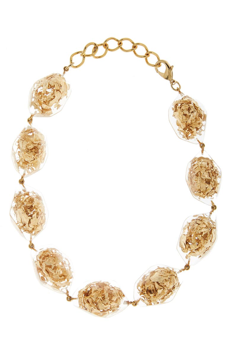 OSCAR DE LA RENTA l Golden Flake & Resin Collar Necklace, Main, color, GOLD
