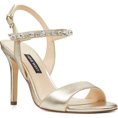 Nine West Madison Crystal Embellished Sandal, Metallic