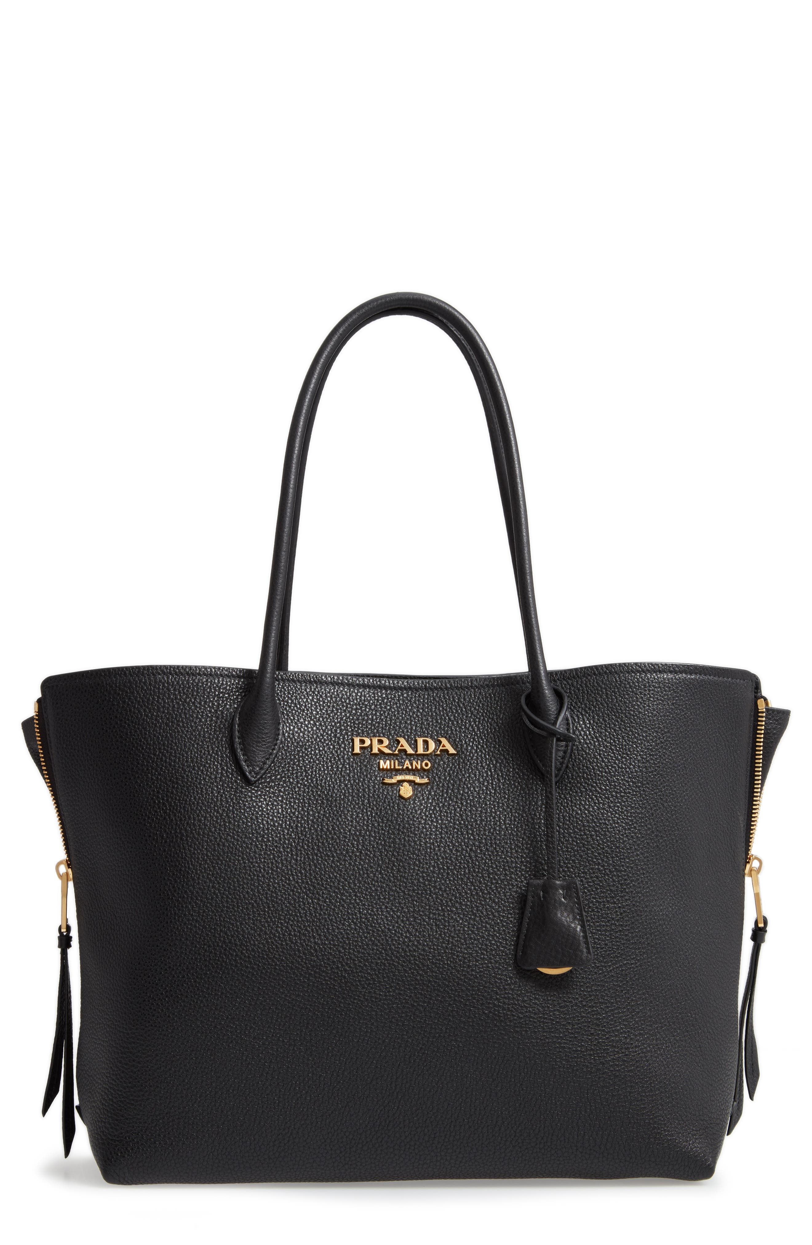 Daino Side Zip Leather Shopper, Main, color, NERO