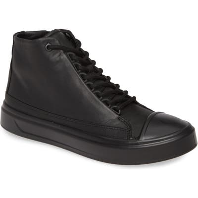 Ecco Flexure Cap Toe High Top Sneaker, Black