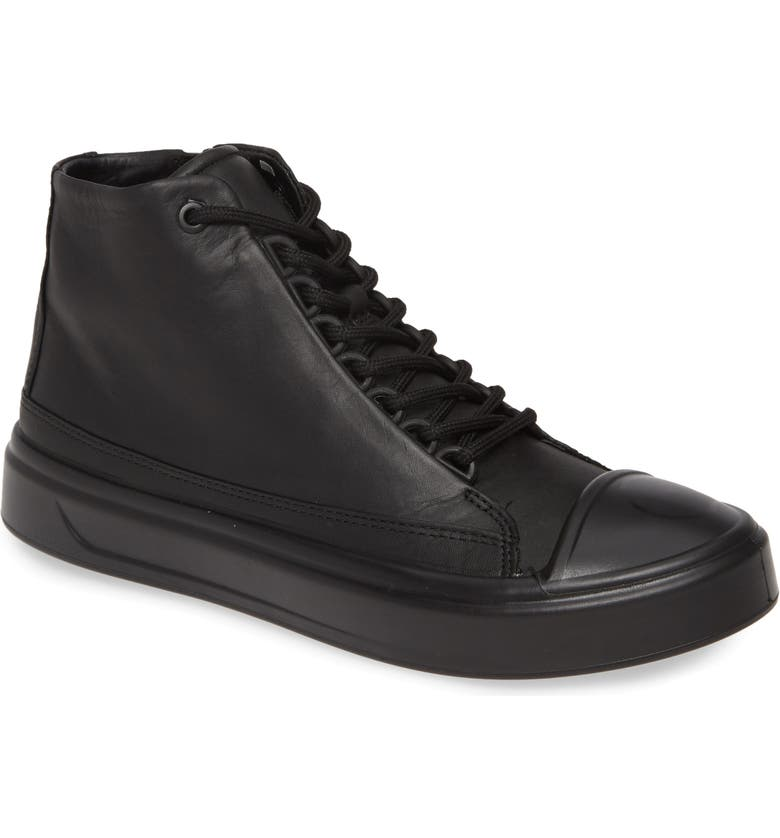 ECCO Flexure Cap Toe High Top Sneaker, Main, color, BLACK LEATHER