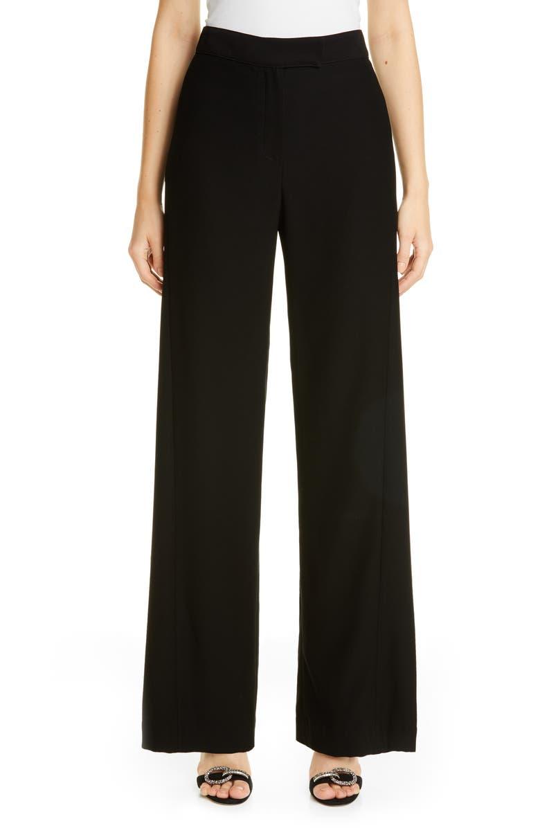 CAROLINA HERRERA Wide Leg Crepe Pants, Main, color, BLACK