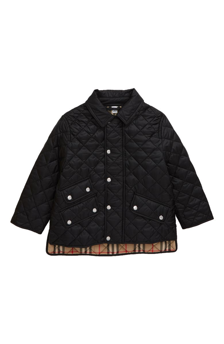 BURBERRY Brennan Water Resistant Diamond Quilted Jacket, Main, color, BLACK