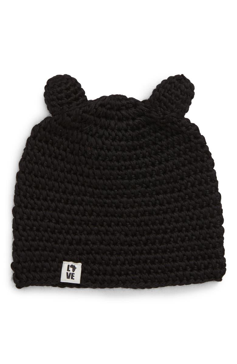 KROCHET KIDS Teddy Ear Beanie, Main, color, BLACK