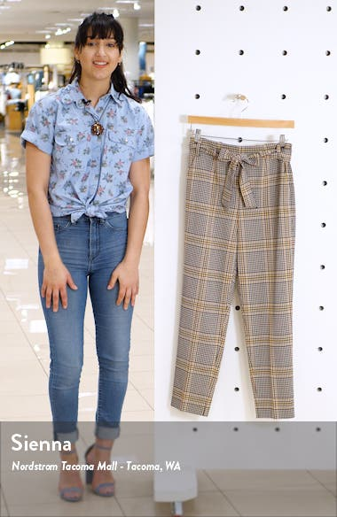 Tie Waist Plaid Crop Pants, sales video thumbnail