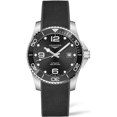 Longines Hydroconquest Automatic Rubber Strap Watch, 41Mm