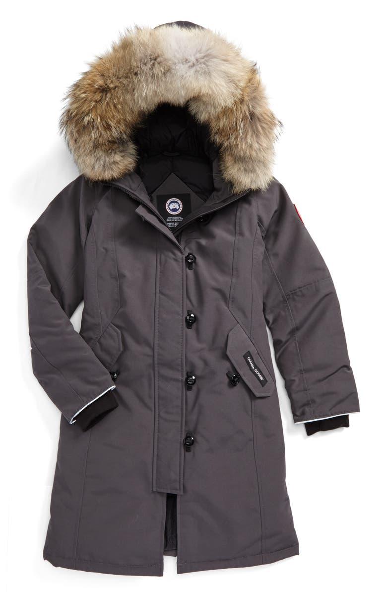 CANADA GOOSE 'Brittania' Down Parka with Genuine Coyote Fur Trim, Main, color, GRAPHITE