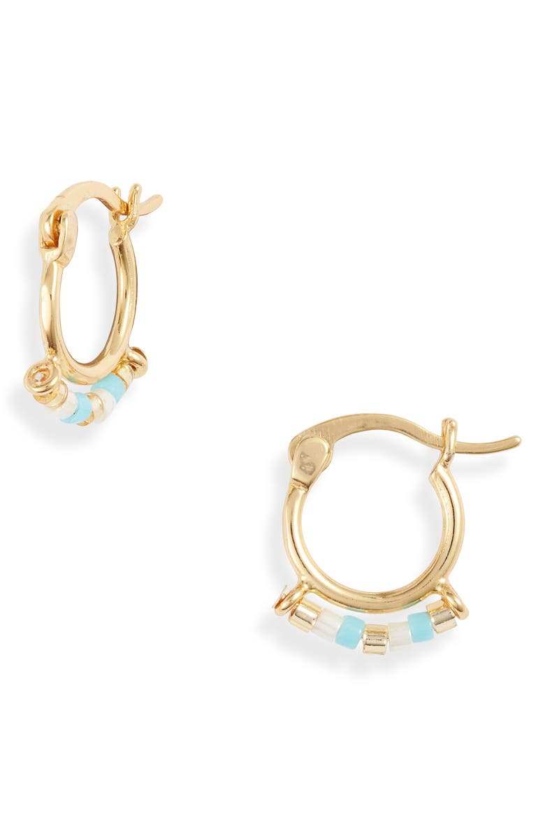ARGENTO VIVO STERLING SILVER Argento Vivo Beaded Huggie Hoop Earrings, Main, color, 710