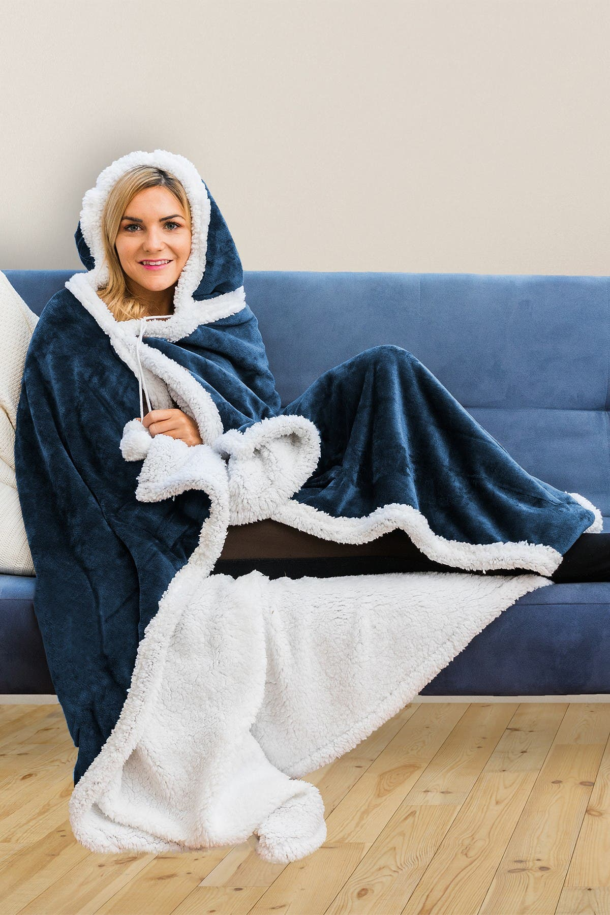 Image of Duck River Textile Solid Hooded Reversible Throw Blanket with Side Pockets - Navy