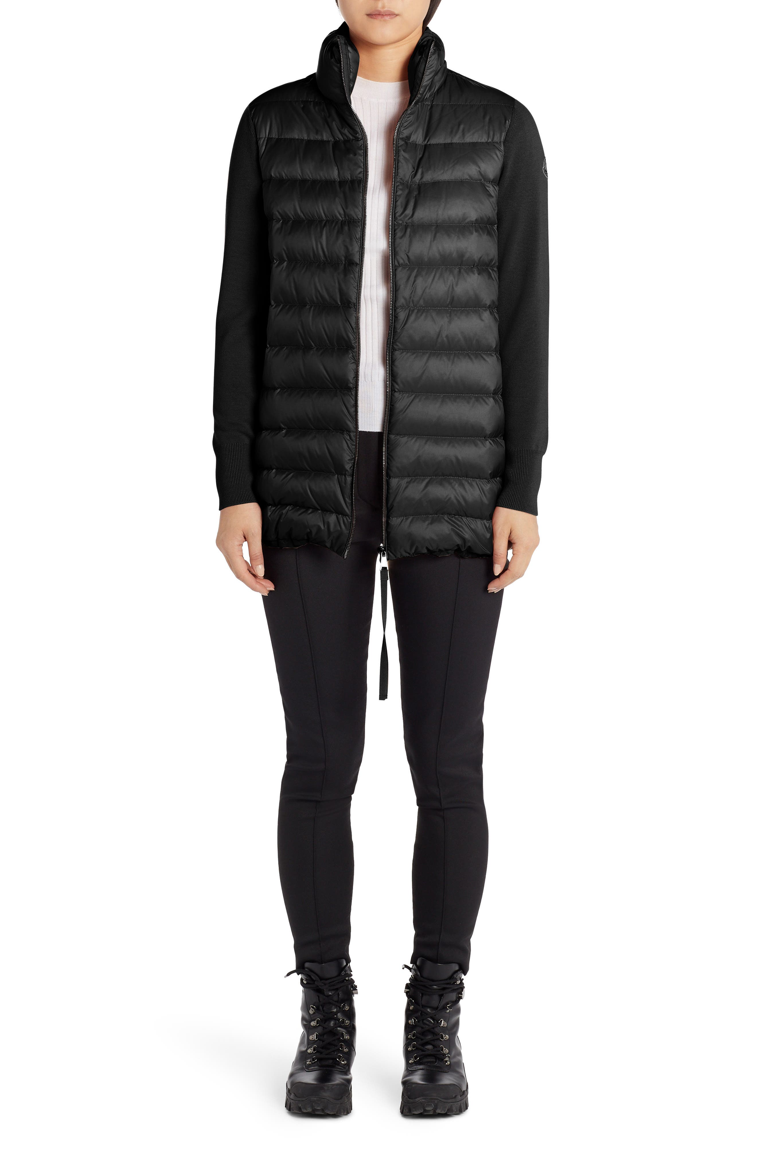Women's Moncler Quilted Down & Wool Long Cardigan