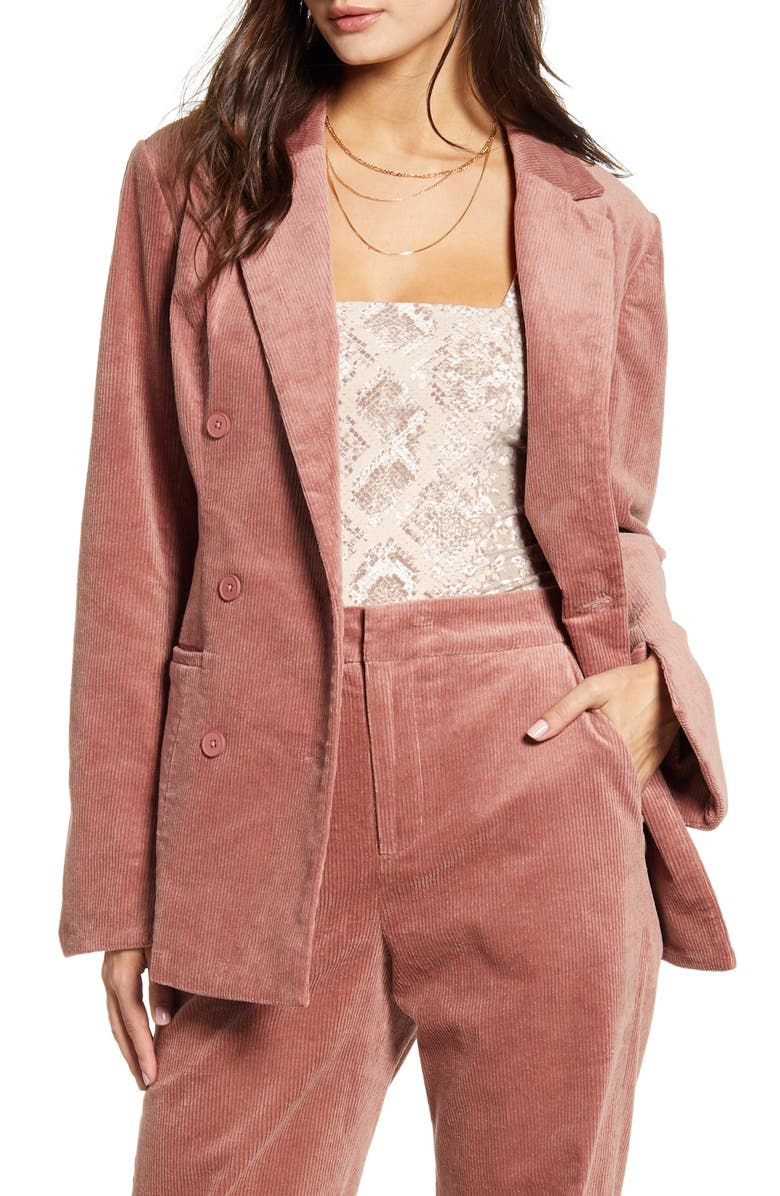 ENDLESS ROSE Corduroy Double Breasted Jacket, Main, color, MAUVE