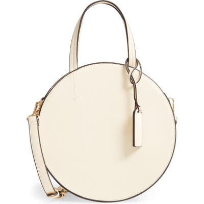 Sole Society Palermo Canteen Faux Leather Circle Crossbody Bag - Ivory