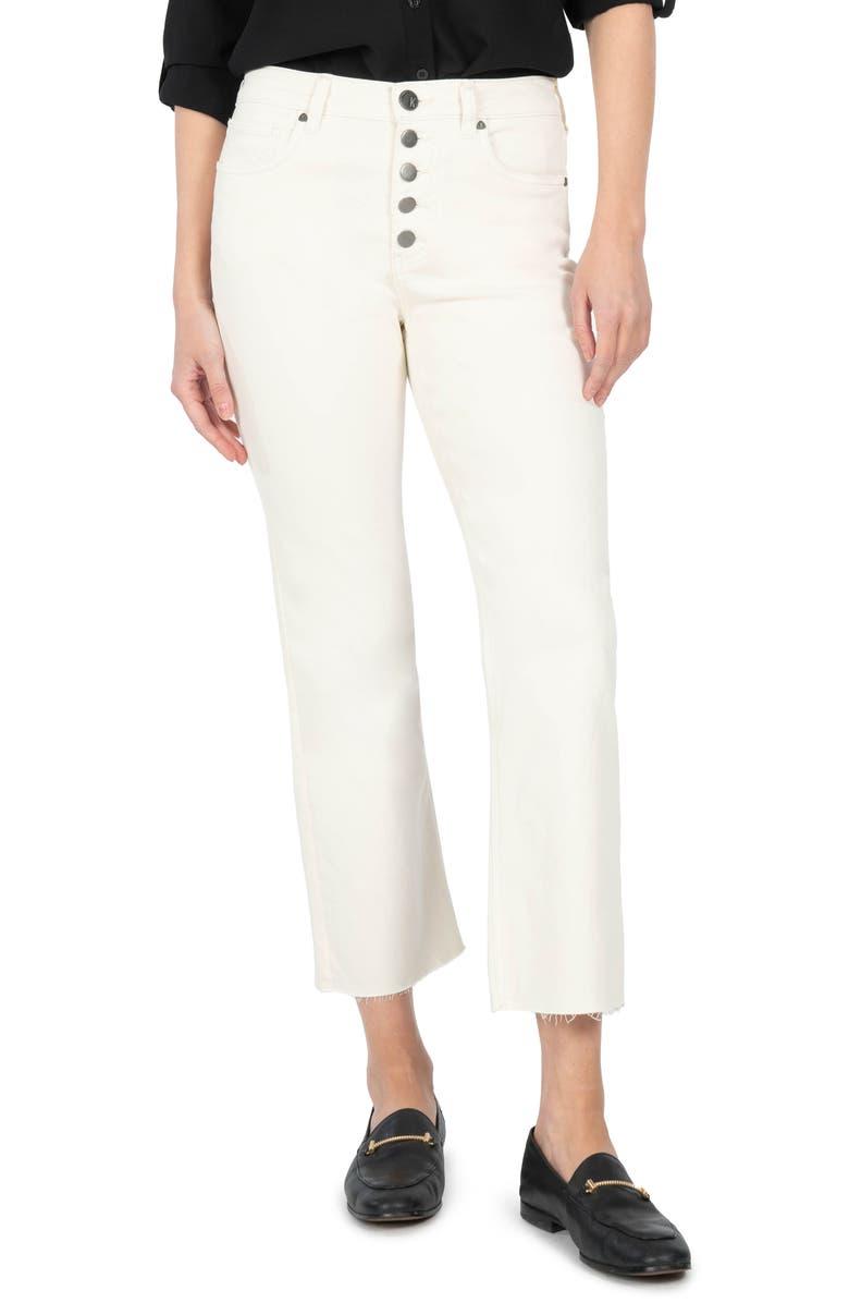 KUT FROM THE KLOTH Kelsey High Waist Raw Hem Crop Straight Leg Jeans, Main, color, ECRU