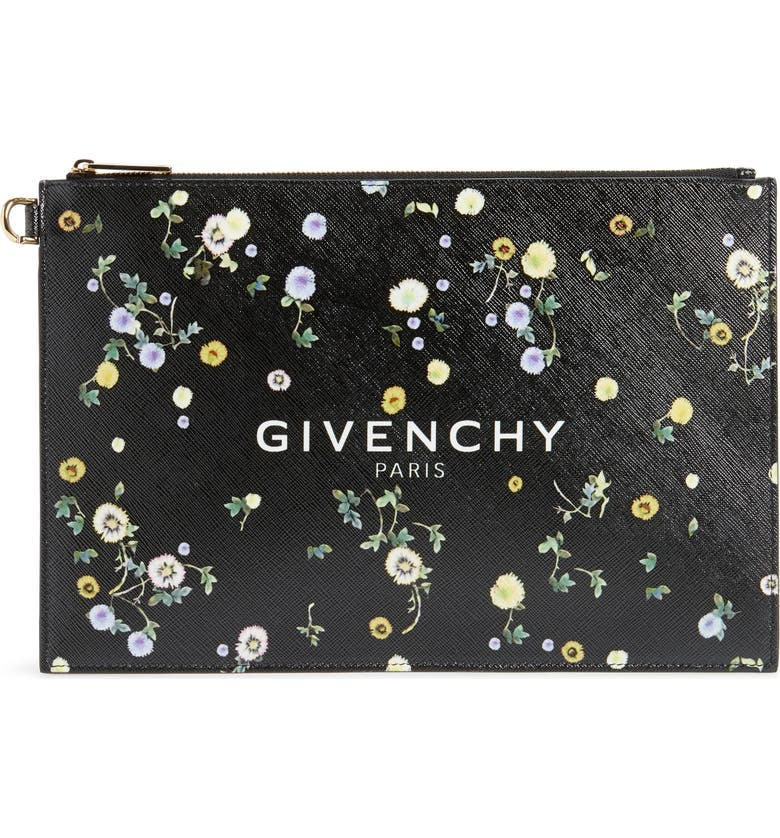 GIVENCHY Medium Iconic Prints Coated Canvas Pouch, Main, color, BLACK