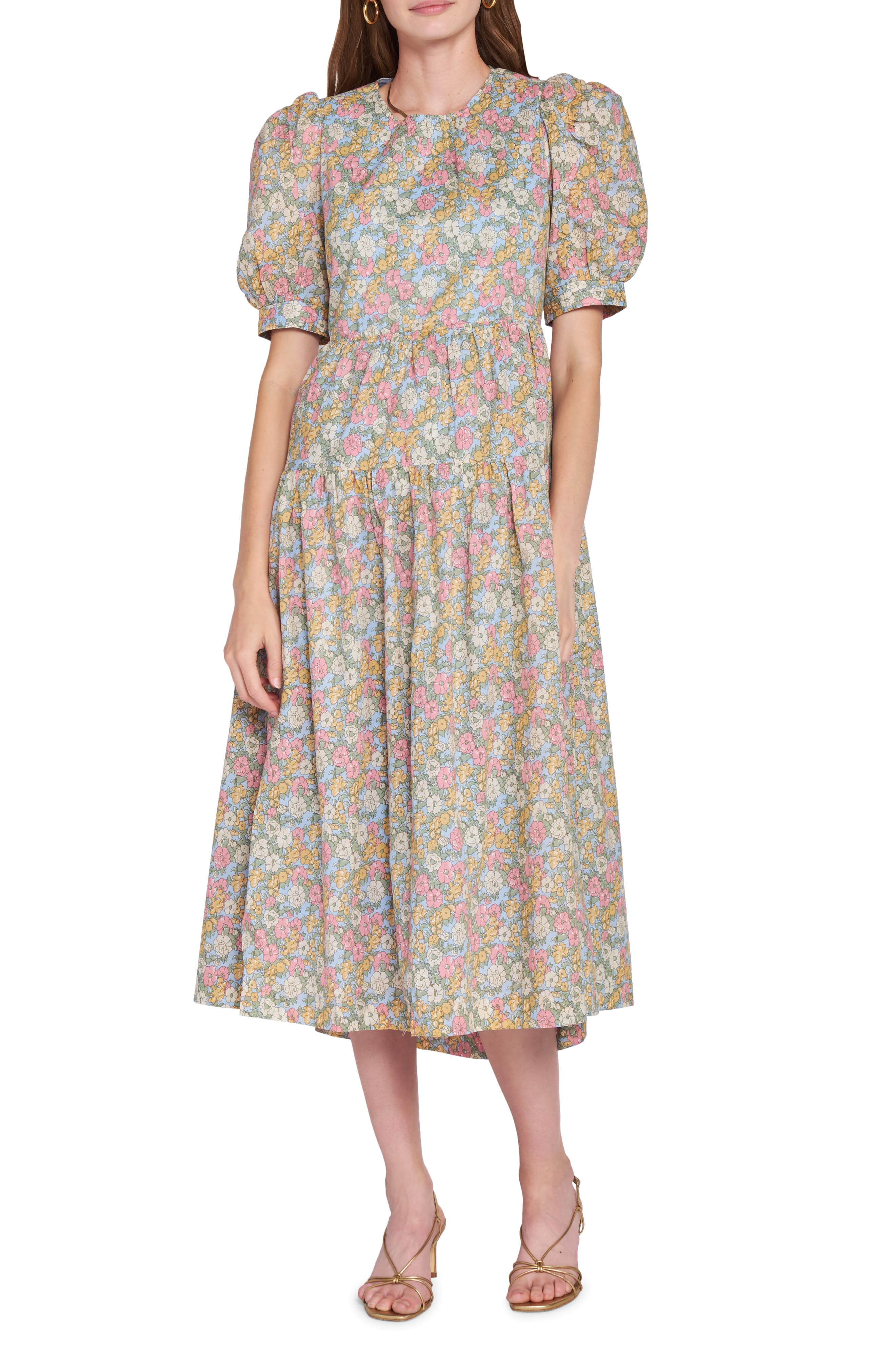 Floral Print Puff Sleeve Cotton Dress