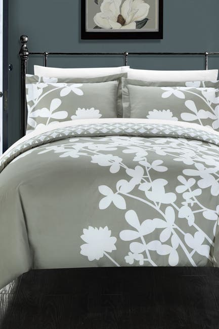 Image of Chic Home Bedding Grey Camellias Reversible Floral Diamond Reversible King Duvet Cover 3-Piece Set