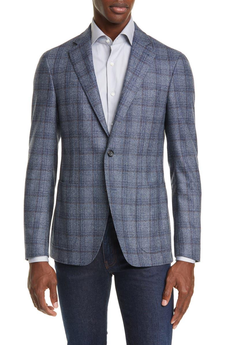 CANALI Kei Trim Fit Plaid Wool Sport Coat, Main, color, 450
