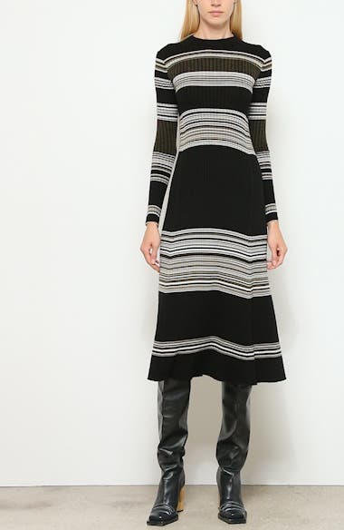 Stripe Long Sleeve Merino Wool Blend Sweater Dress, video thumbnail