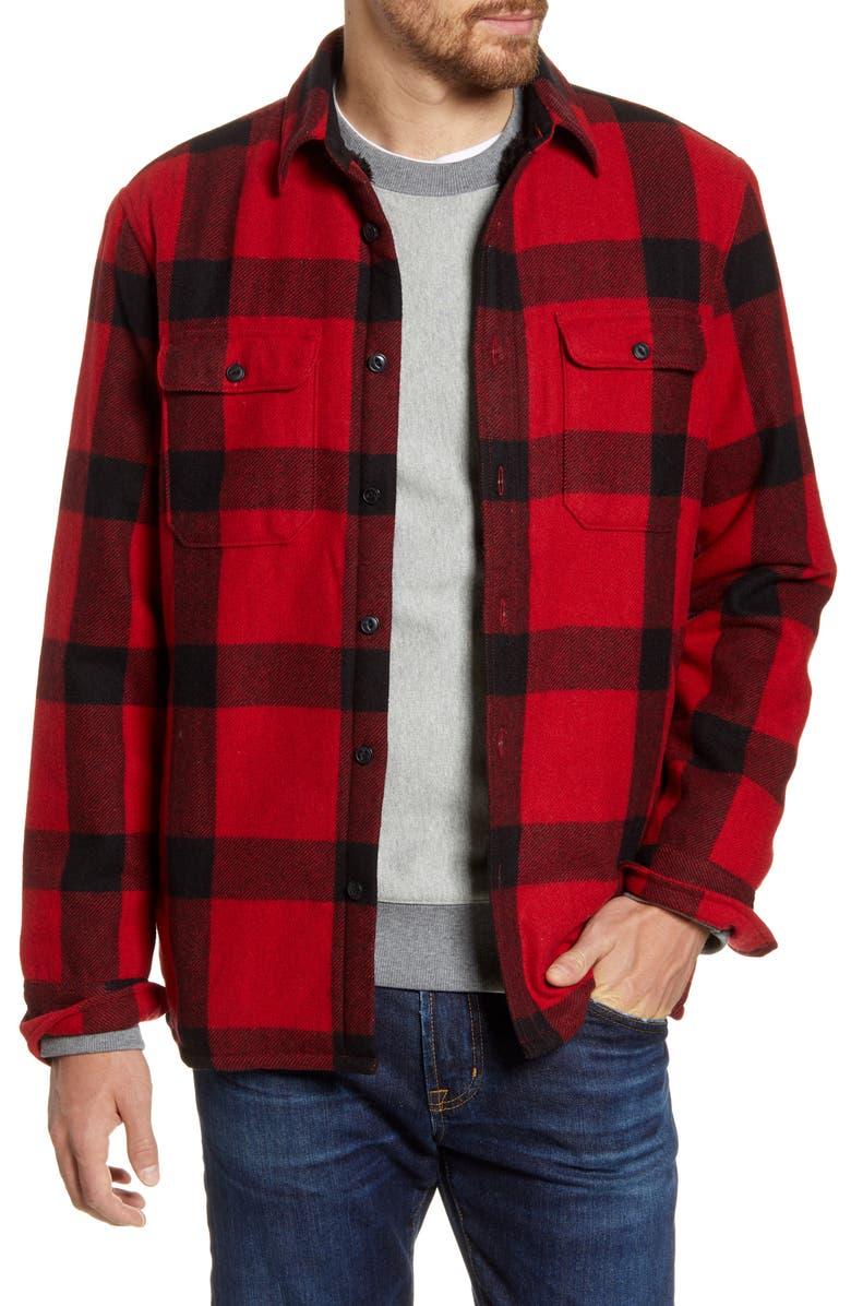 1901 Buffalo Check Faux Fur Lined Shirt Jacket, Main, color, 610