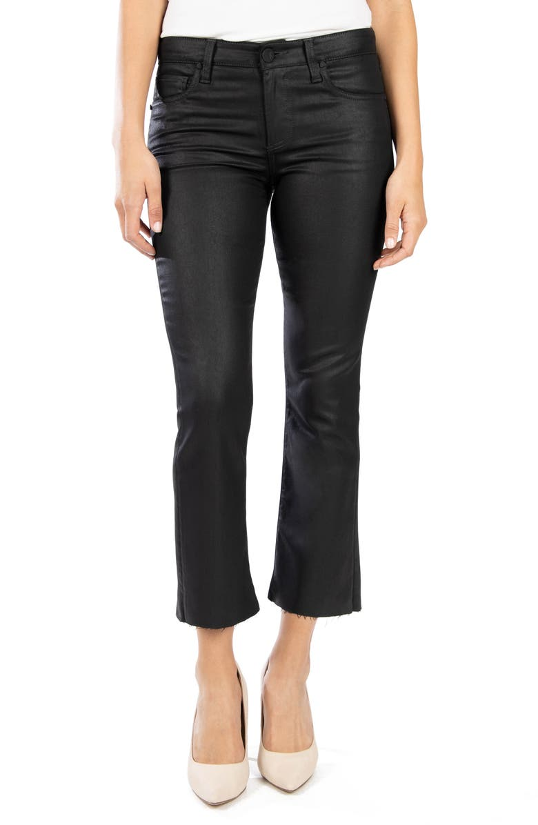 KUT FROM THE KLOTH Kelsey Crop Kick Flare Jeans, Main, color, BLACK