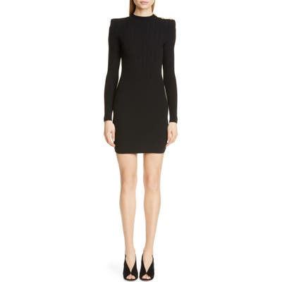 Balmain Shoulder Detail Ribbed Sweater Dress, 46 FR - Black