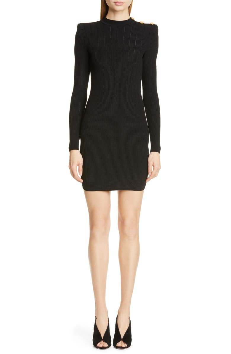 BALMAIN Shoulder Detail Ribbed Sweater Dress, Main, color, NOIR
