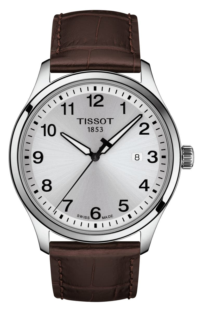 TISSOT Gent XL Classic Leather Strap Watch, 42mm, Main, color, BROWN/ SILVER