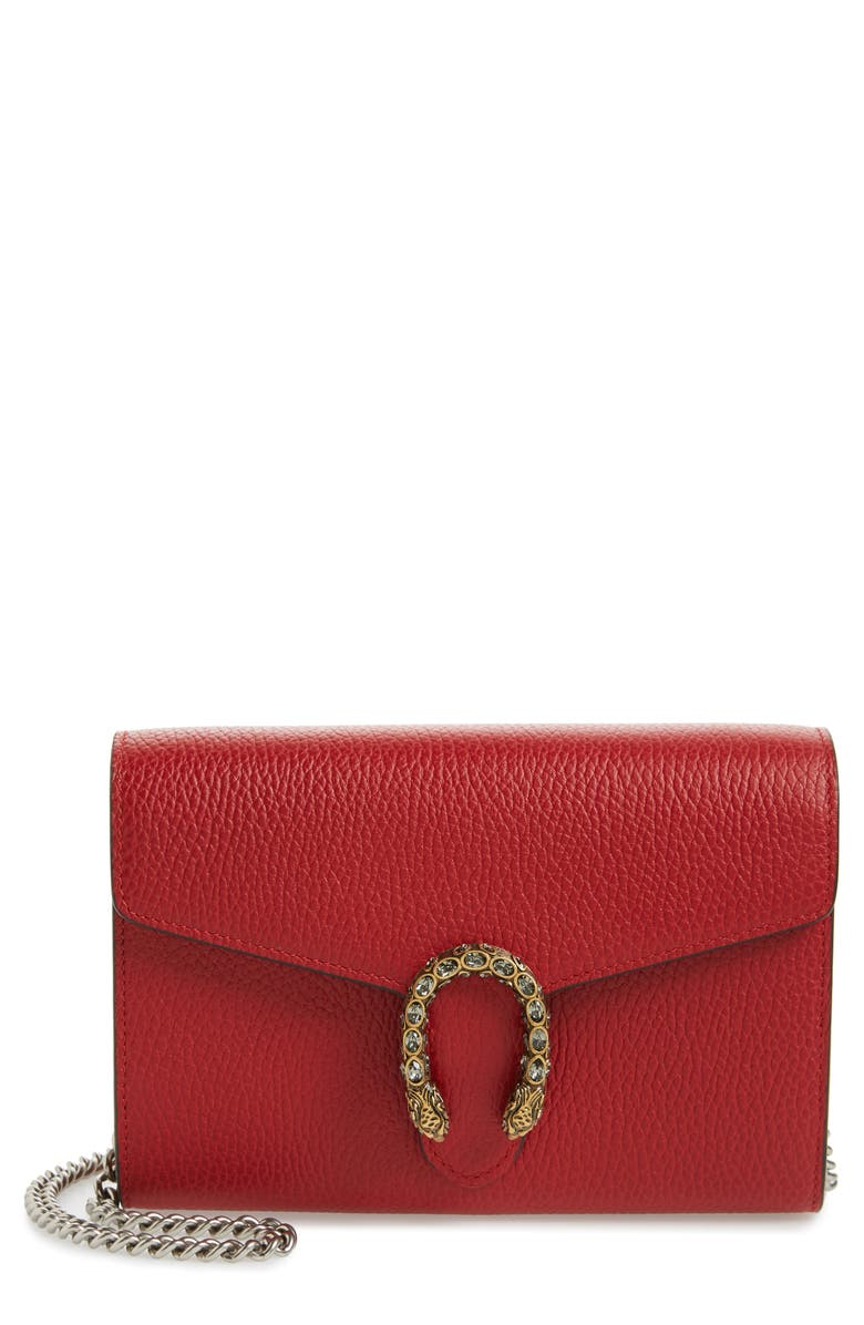 GUCCI Dionysus Leather Wallet on a Chain, Main, color, RED/ BLACK DIAMOND