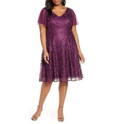 Plus Size Alex Evenings Flutter Sleeve Sequin Lace A-Lined Dress, Purple