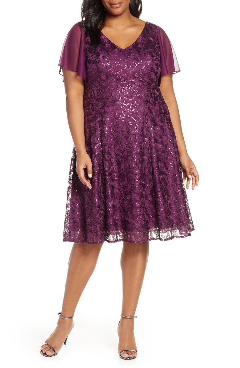 ALEX EVENINGS Flutter Sleeve Sequin Lace A-Lined Dress, Main, color, 530