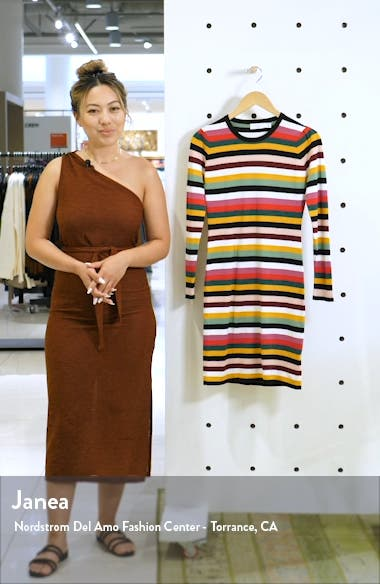 Fun Fridays Long Sleeve Stripe Sweater Minidress, sales video thumbnail