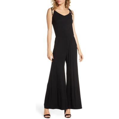 Fraiche By J Sleeveless Wide-Leg Jumpsuit, Black