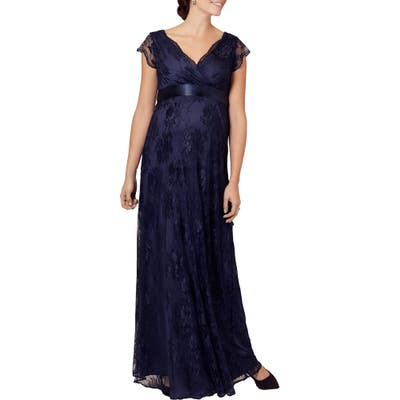 Tiffany Rose Eden Lace Maternity Gown, (fits like 2-4 US) - Blue