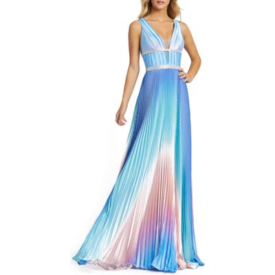 MAC Duggal Pleated Ombre Sleeveless Gown