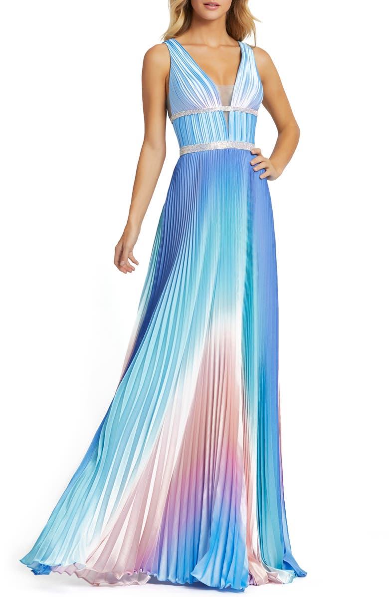 MAC DUGGAL Pleated Ombré Sleeveless Gown, Main, color, BLUE OMBRE