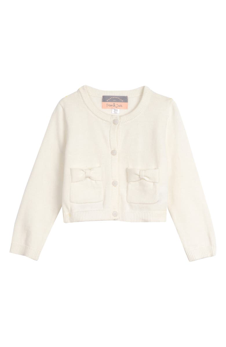 PIPPA & JULIE Bow Pocket Cardigan Sweater, Main, color, IVORY