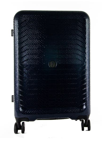"Image of Roberto Cavalli Python Embossed 20"" Expandable Hardside Spinner Suitcase"