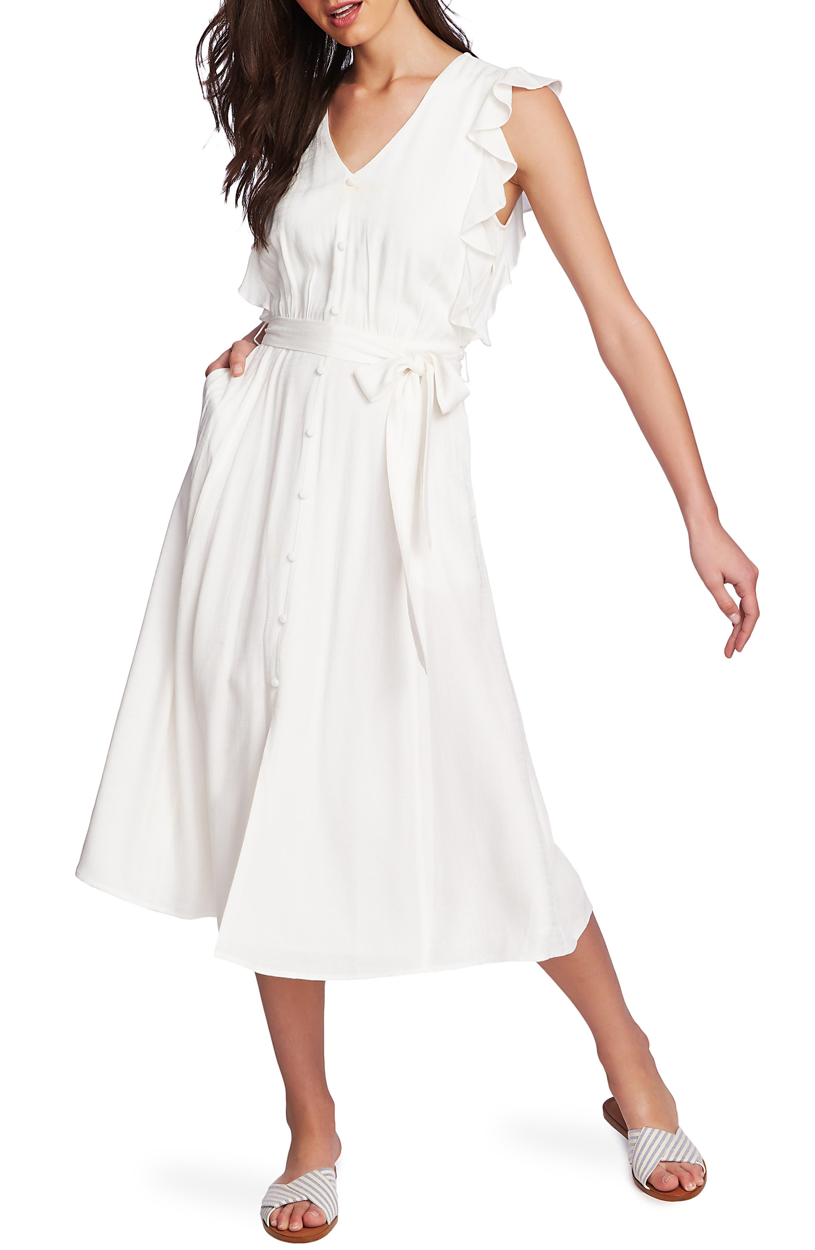 1.state Ruffle Tie Waist Midi Dress, White