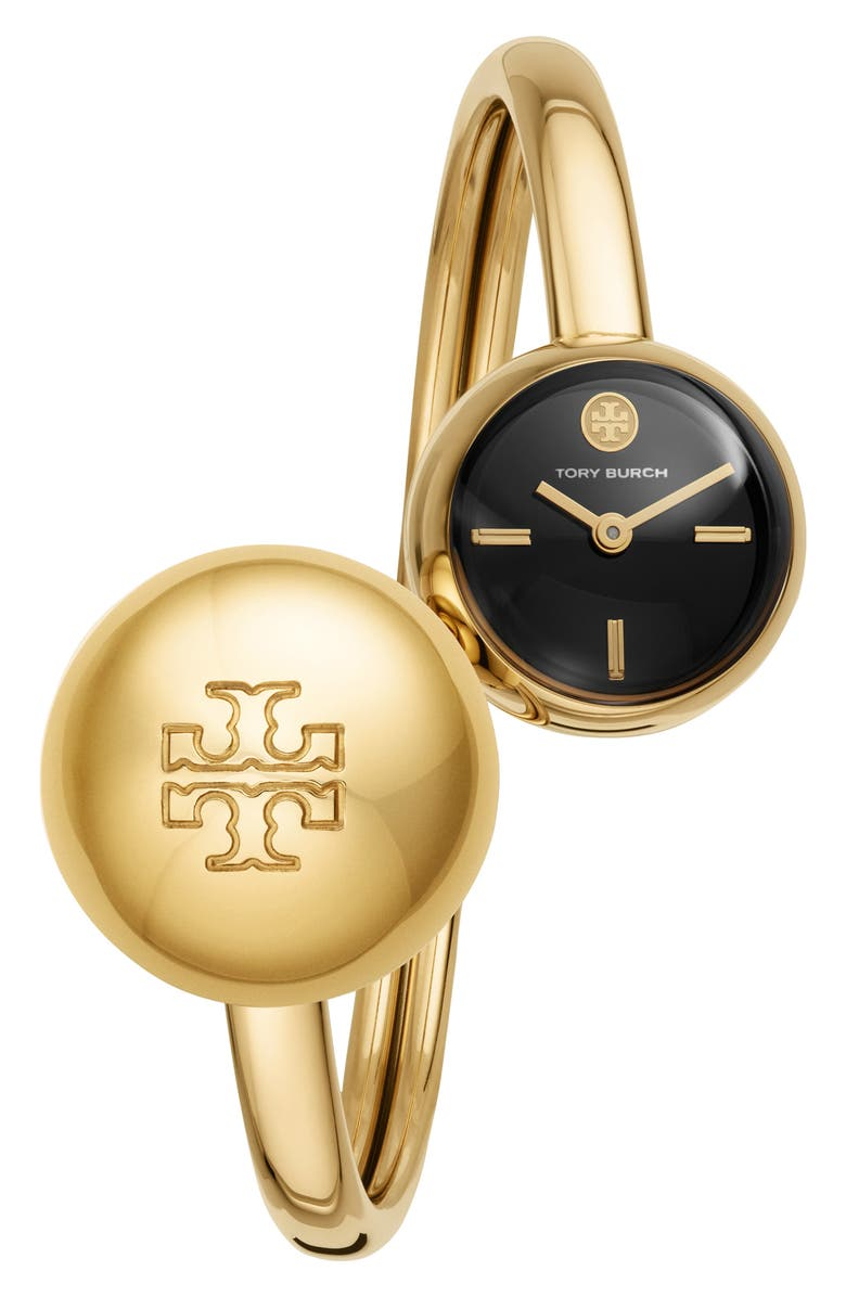 TORY BURCH The Blaire Bangle Watch Set, 22mm, Main, color, GOLD/ BLACK/ GOLD